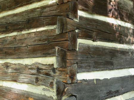 dovetail: Exterior corner of log cabin, showing dovetail construction Stock Photo