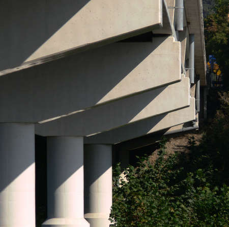 Sequential view of bridge piers