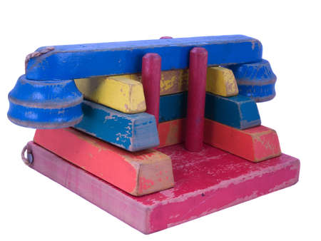 stackable: Multicolored 1950s stackable wooden toy block telephone puzzle