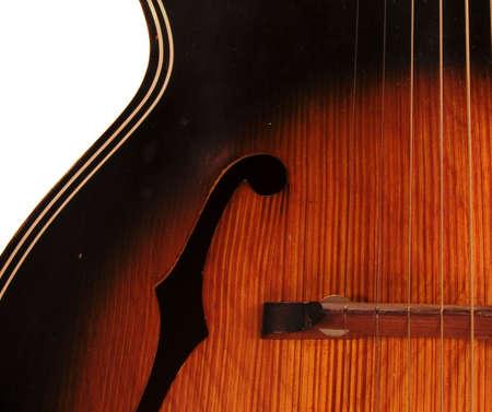 Vintage Archtop F Hole Acoustic Guitar Detail With Left Hand Stringing Reklamní fotografie