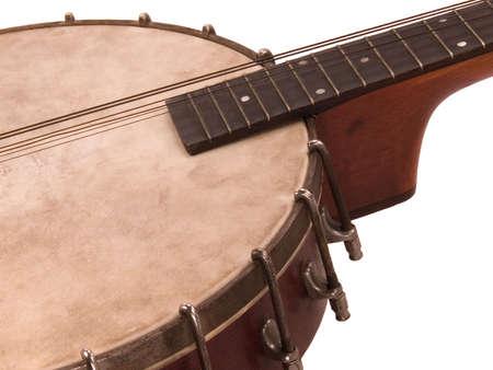 partly: An antique banjolin: Part banjo, part mandolin, partly strung. Stock Photo