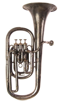 Early 20th century, engraved baritone brass horn band musical instrument on white iso background Reklamní fotografie - 1518064