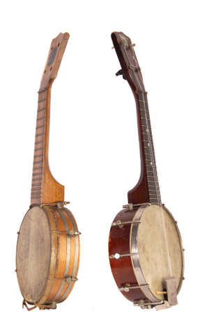 Two banjo-ukelele hybrid string instruments from the 1920s Stock Photo