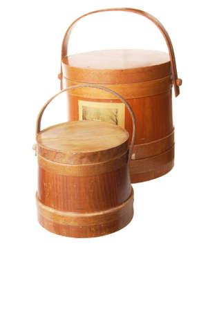 Two different sized wooden buckets with lids Stock fotó