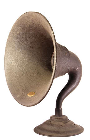 The loudspeaker horn from an early, exposed tube, shelf type  radio set. Reklamní fotografie - 1552221