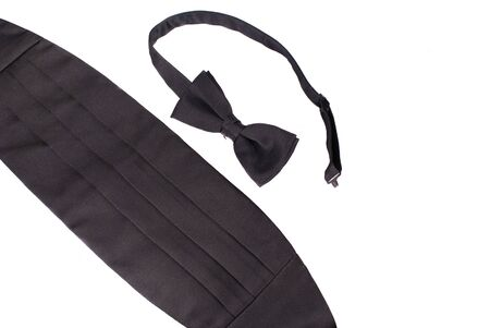 Tuxedo cheater bow tie and cummerbund, white iso. Stock Photo