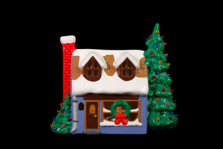 Hand Painted Ceramic House Exterior Decorated For The Holidays
