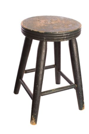 Antique, timeworn painted wooden stool, white iso. Reklamní fotografie - 2757742