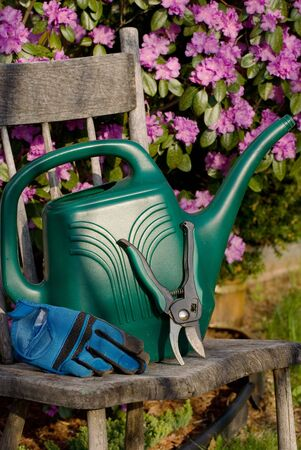Watering can, shears, and gardening gloves on an old wooden kitchen chair, floral background.