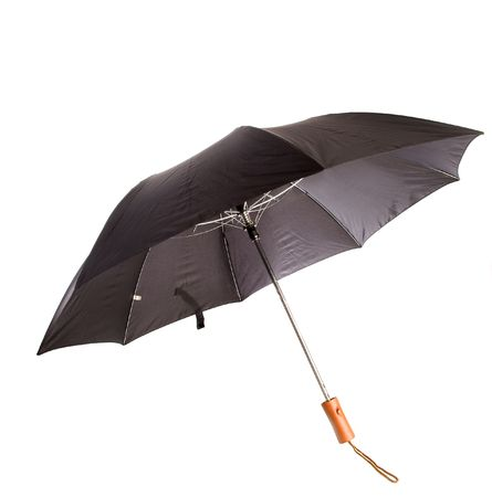 Black,opened,short handled umbrella,white isolation 免版税图像