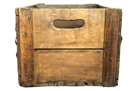 End-on view of antique wooden beer case, white iso.