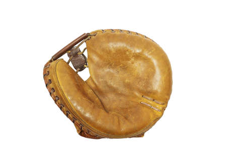 Mid 20th century baseball catchers mitt, white iso. Reklamní fotografie