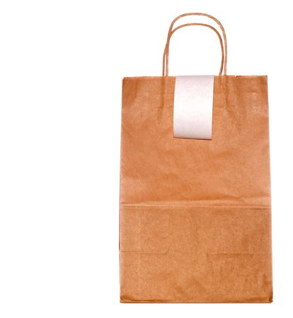 Brown paper bag with handles and blank register tape, white iso. Reklamní fotografie
