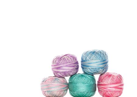 Colorful thread balls, white isolation. Reklamní fotografie