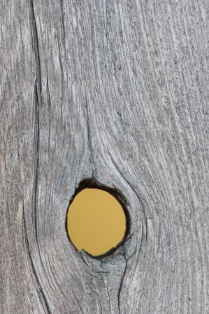 Close up of a knot hole in a weathered board