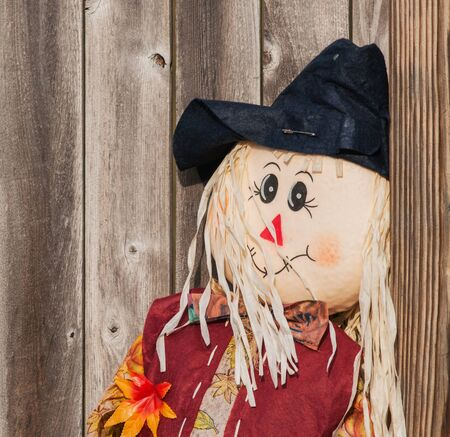 Smiling scarecrow leaning against a rustic wooden fence.