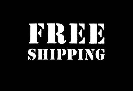 Sign that says Free Shipping, with white lettering on a black background.
