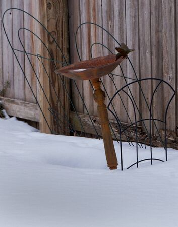 Rusty cast iron bird bath in snow, containing ice, in a tilted position, with a rustic, weathered, wooden fence background.