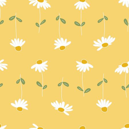 Vector Daisies Up and Down Seamless Repeat Pattern Background