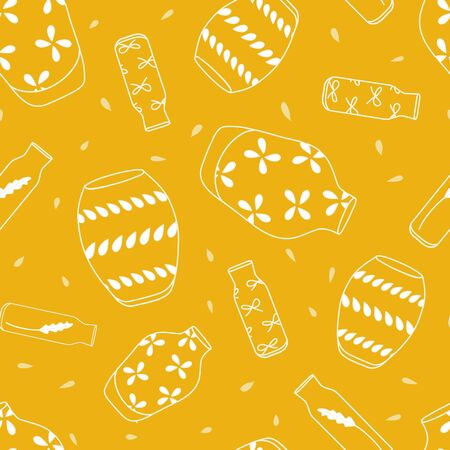Vector Yellow Dancing Vases Seamless Background Pattern