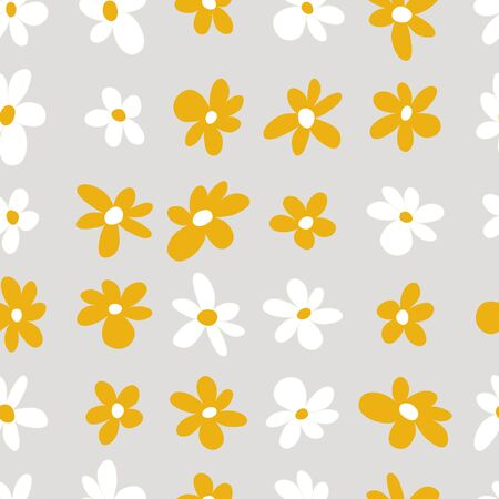 Vector White and Yellow Stripes of Daisies Flowers Seamless Repeat Background Pattern
