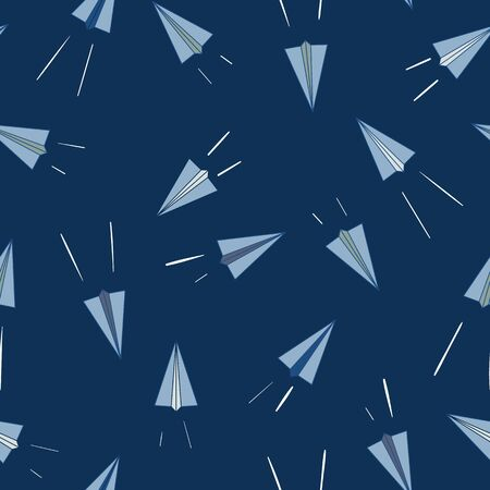 Vector Paper Planes Flying in Dark Blue Sky Seamless Repeat Background Pattern