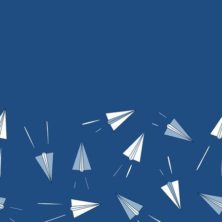 Vector Paper Planes Border Horizontal Repeat