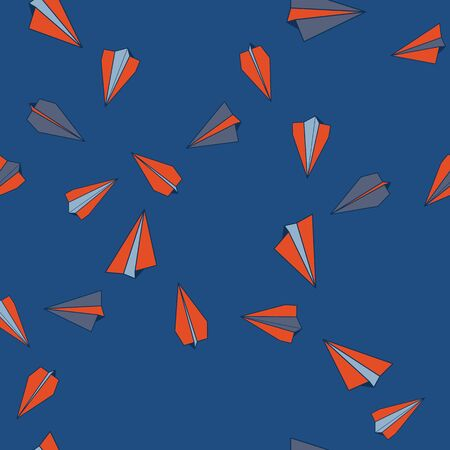 Vector Paper Air Planes Flying in Classic Blue Sky. Seamless Repeat Pattern Background