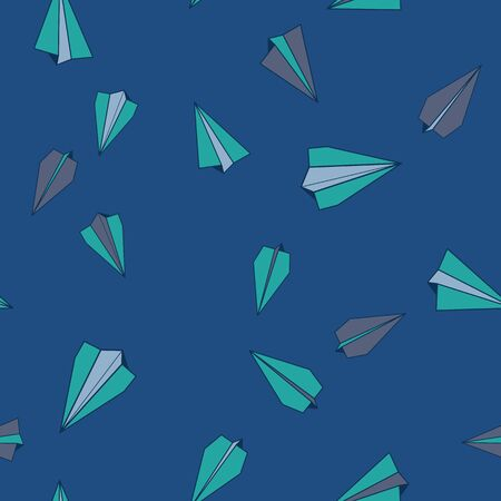 Vector Turquoise Paper Planes Flying in Classic Blue Sky, Seamless Repeat Pattern Background Ilustracja
