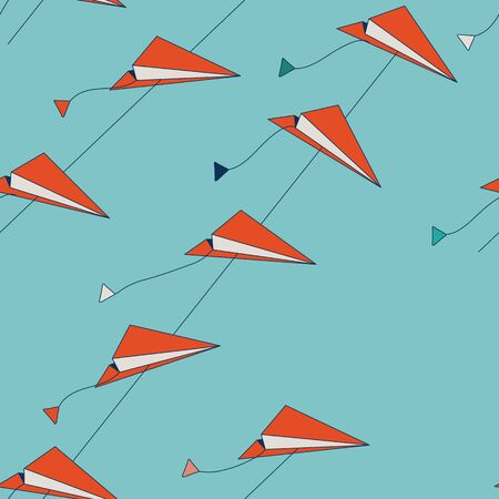 Paper Airplanes Kites Flying in The Sky, Seamless Repeat Pattern Background