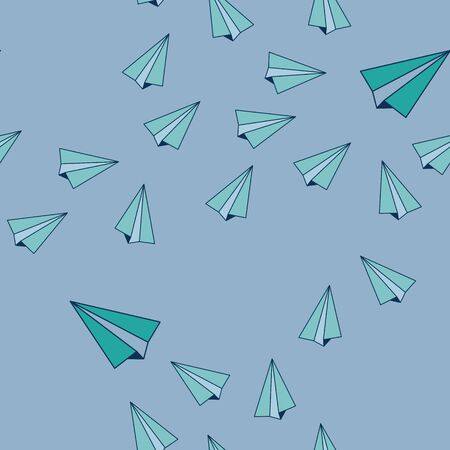 Blue Paper Airplanes Flying in the Sky Background Seamless Repeat Pattern