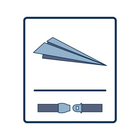 Fasten Seat Belt Sign for Landing with Paper Airplanes Placement Print Ilustrace