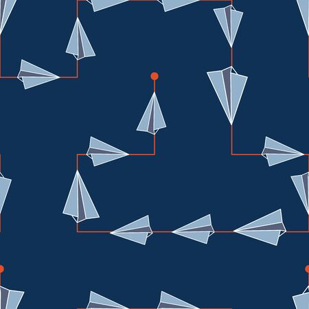 Abstract Paper Air Plane Following a line Seamless Repeat Pattern Background Çizim
