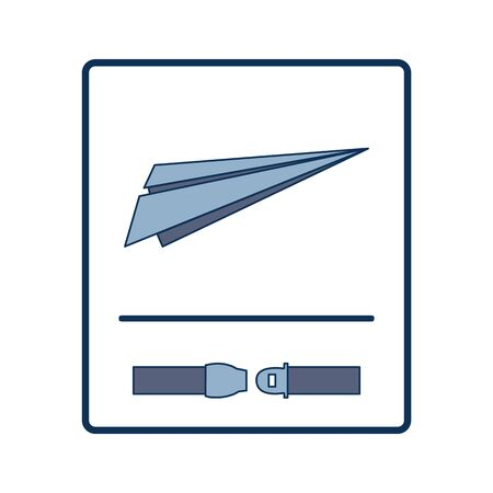 Fasten Seat Belt Sign for Take Off with Paper Planes Placement Print Çizim