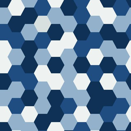Random Hexagonal Blue and White Seamless Repeat Background Pattern