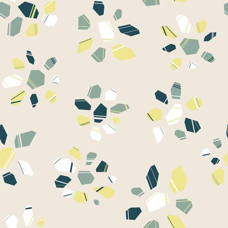 Flowers Stones Mosaic Seamless Repeat Pattern Background Ilustracja