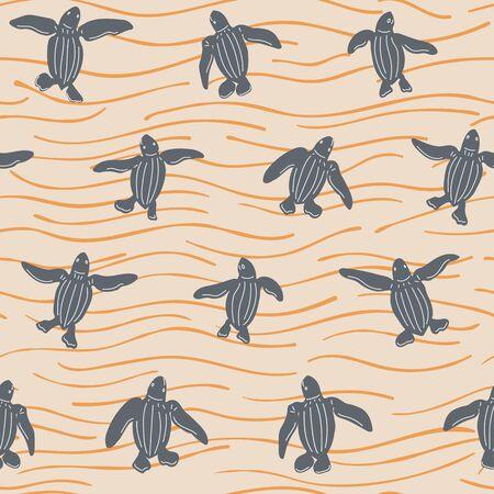Newborn Turtles Crawling on the Sand Seamless Repeat Pattern Ilustração
