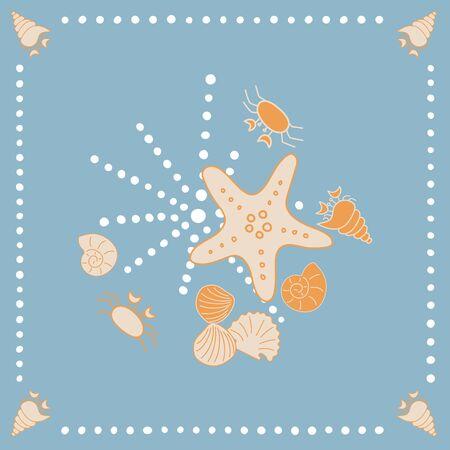 Sea Shore Shells and Starfish Vector Illustration