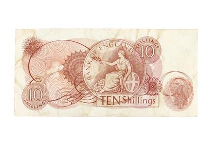 dosh: Ten shilling note Stock Photo