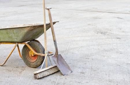 Wheelbarrow with tools photo