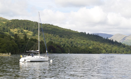 moored yacht on lake windermere photo