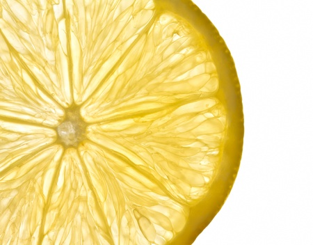with lemon: fresh yellow lemon slice with white background