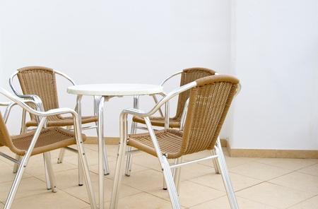 Patio furniture on a Lanzarote hotel balcony photo