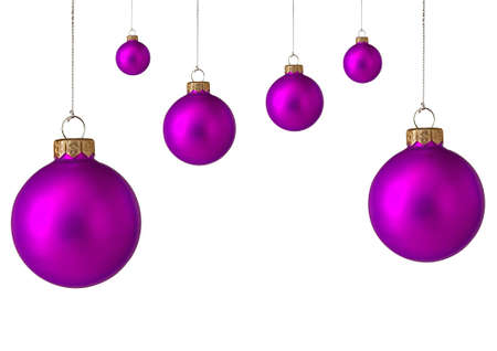 Several purple christmas baubles photo