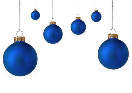 Several  blue christmas baubles Stock Photo