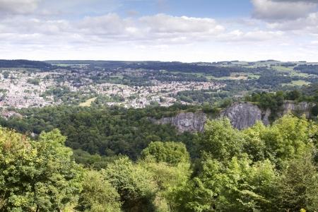 Podwyższone widok Matlock, Derbyshire z wysokości Abrahama