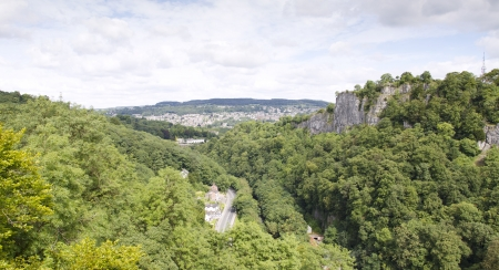View of Matlock town from Heights of Abraham, Derbyshire Stock Photo