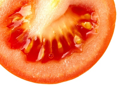 Close up image of juicy red ripe tomato on white background photo