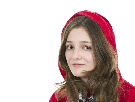 hooded top: Pre teen young girl in a red hooded top