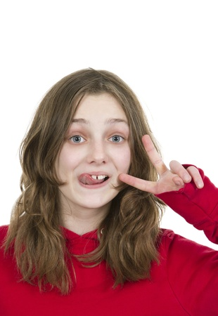 beautiful preteen girl: Pre teen young girl sticking her tongue out